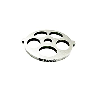 """Berucci Stainless Steel 5 Hole Meat Grinder Plate Disc Blade for FGA KitchenAid Mixer Attachment 5/8"""" Holes for Large Coarse Grind"""