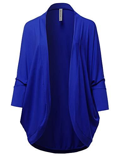 - Premium 3/4 Sleeve Loose Cocoon Open Front Pocket Cardigan Denim Blue XL