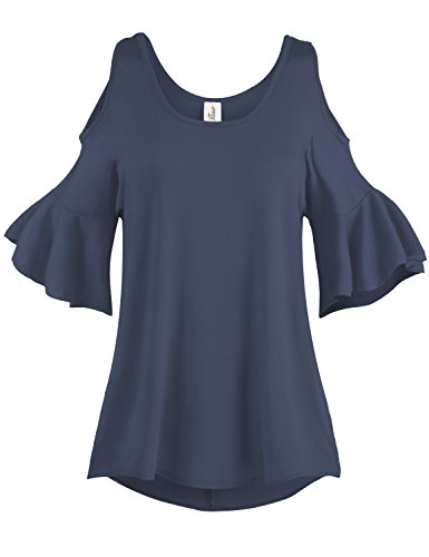 Pleated End Wide Cold Shoulder Tunic Tops, 001-Navy, US L