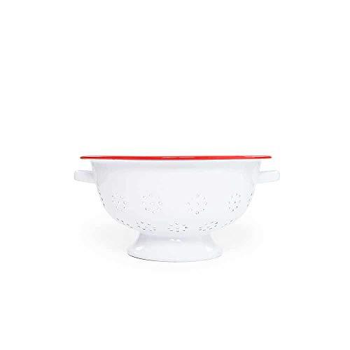 (Enamelware Colander, 11 inch, Vintage White/Red )