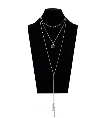Lariat Tassel Choker Necklace - VUJANTIRY Women's Tiered Long Necklace Layered Choker Necklace Drusy Lariat Necklace Tassel Pendant Necklace (Silver#2)