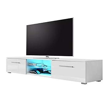 Edith – TV-Lowboard / TV-Bank / Fernsehschrank (140 cm, Weiß Matt / Weiß  Hochglanz, LED in Blau)