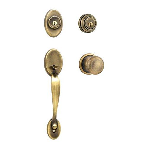 Brass Hancock Double Cylinder - Kwikset 801CE/967H-US5 Antique Brass Chelsea Double Cylinder Handleset with Hancock Knob