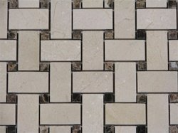 4x4 Sample of Crema Marfil Marble Basketweave Dark Emperador Dot