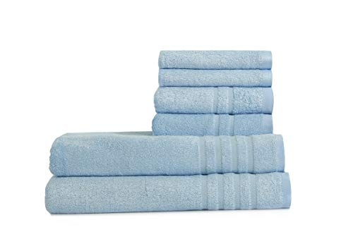 Home Bath Towel 100% Bamboo Fiber Fade-Resistant Super Soft and High Absorbent,2 Bath Towels,2 Hand Towels,2 Wash Clothes.Smoke Blue
