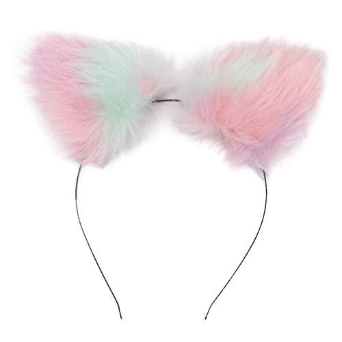 BAOBAO Women Girl Cat Fox Long Fur Ears Headband Party Cosplay Costume Hairband (Pink-Rainbow) ()