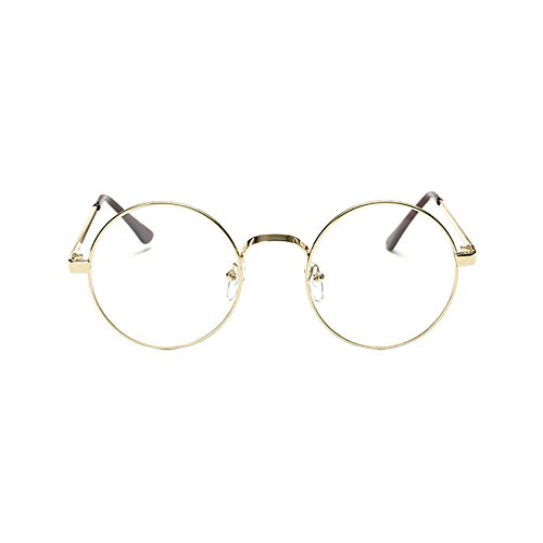 Fengzhicai Men Women Vintage Oval Frame Eyeglass Plain Glass Clear Full-Rim Spectacles - - Gents Spectacle Frames