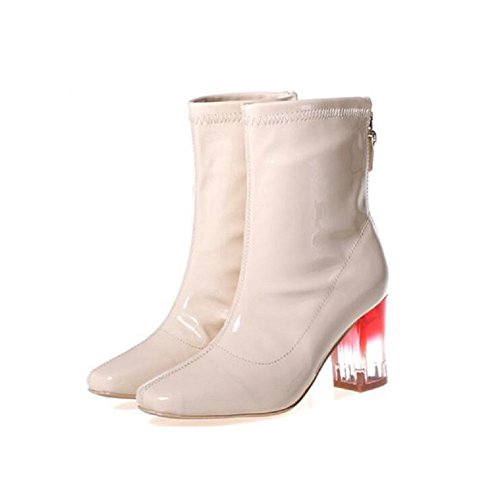 Short Boots Skin Light Tube 39 Stretch Winter Oil Bootie APRICOT High Heels Chunky Fashion Heel TtwwfEq