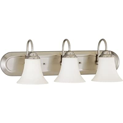 Nuvo Lighting 60/1901 Dupont 3-Light Chandelier with Satin White Glass, Brushed Nickel