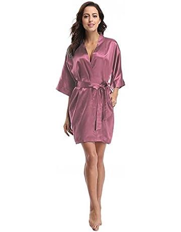 f461cc6cea91 Luvrobes Women's Satin Kimono Robe, Solid Color, Short