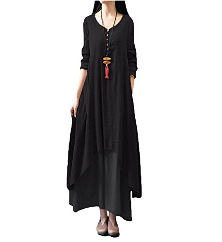 MissQee Women Linen Double Layer Plus Size Maxi Dress Black 4XL