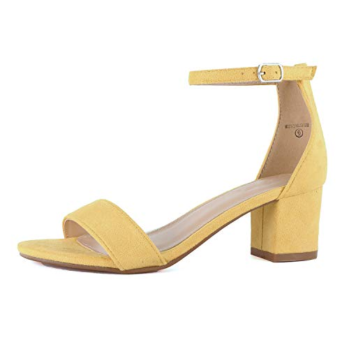 (Womens Ankle Strap Single Band Sandal - Low Chunky Block Comfortable Office Heeled Sandals (8 M US, Mustard Suede))