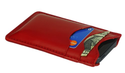 Leather iPhone 5 & 5S Case w/4 Card/Cash Pockets, Red Leather