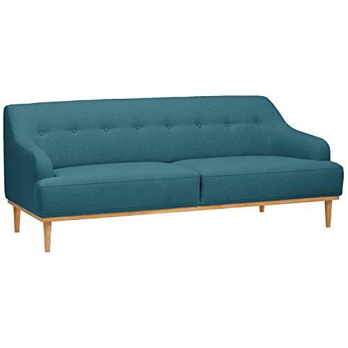 """Rivet Alvin Contemporary Sofa, Fabric, 81""""W, Blue"""