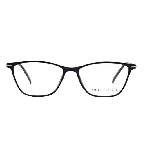 Eyewear Frames-OCCI CHIARI-Rectangle Lightweight Non-Prescription Eyeglasses Frame with Clear Lenses For Womens (A-Black(Anti-blue ()