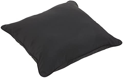 Mozaic Company AZPS6356 Indoor Outdoor Sunbrella Square Floor Pillow with Corded Edges, 26 x 26, Canvas Black