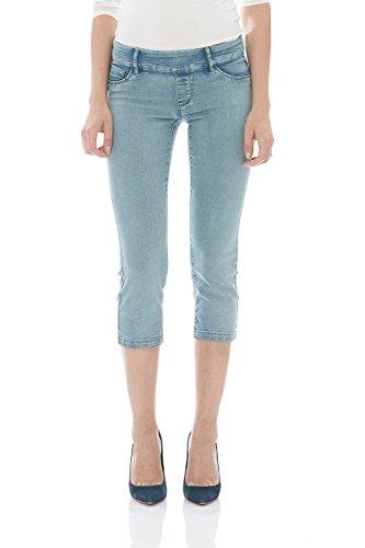 - Suko Womens Pull On Capri Jeans Power Stretch 16801C Bleach 12