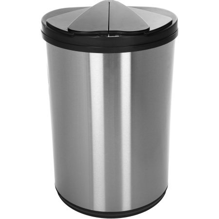 Nine Stars Stainless Steel Half Moon Sensored 12.4-Gallon Trash Can with Stainless Steel Lid (Antique White Trash Can)