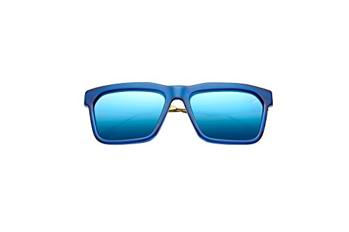 DEANO Matte Midway Blue Frames With Antique Brass Frames With Pacific Flash Blue - Kardashian Porsche Sunglasses