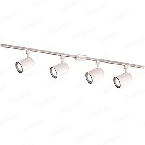 Nora Track Light NTL-156W/4H - White - 4 ft. Track Kit (4) Round Back Cylinder Heads - For R30/PAR30 Lamps - Single Circuit - 120 Volt - Ready For Installation (Par30 Round Cylinder Back)