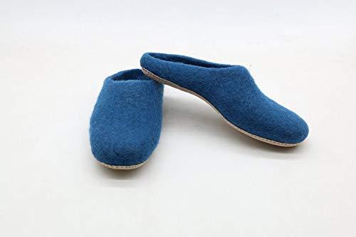 himalayan art house Unisex Handmade Felt Shoes Blue