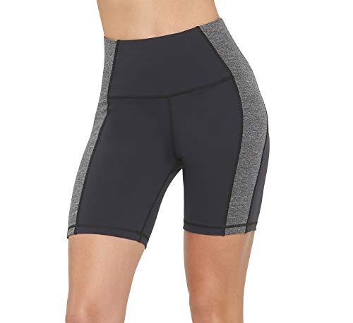 (slimour Women Volleyball Shorts High Waist Yoga Shorts Spandex Knee Length Workout Running Grey 12)