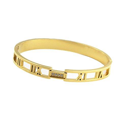 Baoliren Yellow Gold Plated Titanium Roman Numeral Women's Bracelet Bangle
