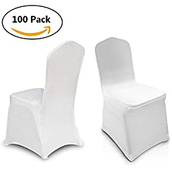 Amashion 100pcs Universal Lycra Spandex Chair Covers for Wedding Hotel Party Banquet Decoration [US STOCK]