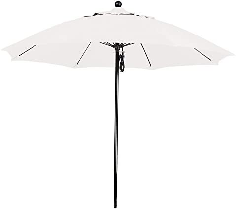 California Umbrella 9 Round 100 Fiberglass Frame Market Umbrella, Push Lift, Black Pole, White Olefin
