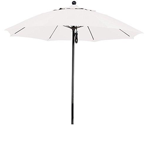 California Umbrella 9-Feet Olefin Fabric Complete Fiberglass Frame Pulley Lift Open Patio Market Umbrella, White