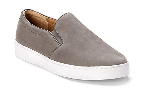 Vionic Women's Splendid Midi Slip-on - Ladies Sneaker with Concealed Orthotic Arch Support Grey Nubuck 5 M US