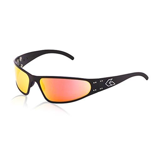 Gatorz Wraptor Aluminum Frame Sunglasses-Black/Sunburst Mirror Lens ()