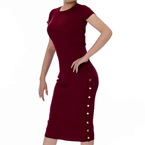 Monologue Apparel Women's Midi Bodycon Casual Short Sleeve Ribbed Knit Dress with Side Slit (Burgundy, Large)