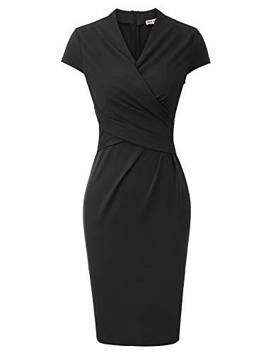 Grace Karin Vintage potloodjurk plissé bodycon-jurk figuurbenadrukkende jurk sexy cache hart V-hals manchet voor avond…