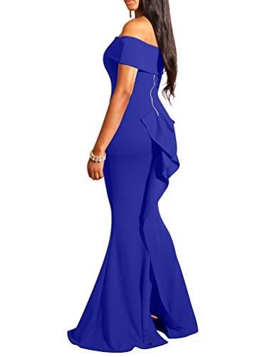 - LAGSHIAN Women Elegant Back Ruffles Sexy Off Shoulder Gown Maxi Evening Party Mermaid Dress Royal Blue
