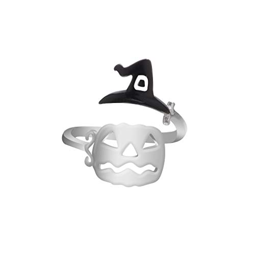 YESMAEA Cute Halloween Ghost Witch Broom Finger Ring