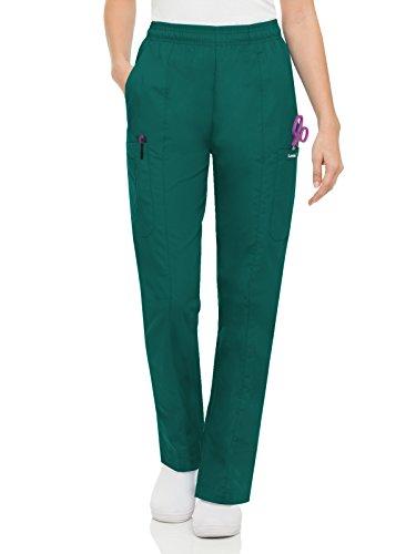 - Landau Essentials Women's Classic Fit Elastic-Waist Cargo Scrub Pant Hunter Green XS