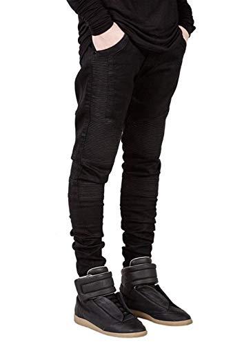 Mode Casual Uomo Fit Lavati Slim In Di Strappati Motociclista Stretch A Denim Jeans Pantaloni Nero Da Vintage Pieghe Marca HT4p0Wqwfx