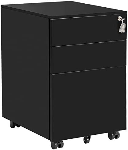 3 Drawer File Cabinet Locking File Cabinet Metal Office Cabinet with Lock Fully Assembled Except Wheels Black
