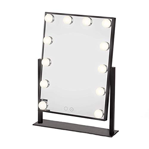 (Large Makeup Mirror Touch Screen with 12 Big LED Bulbs Lighted Mirrors Adjustbale Brightness (Black))