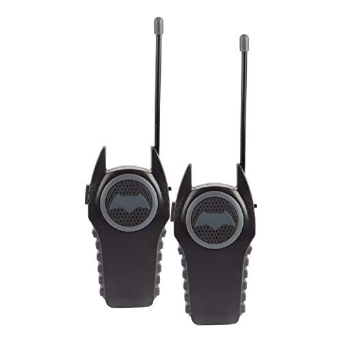 Batman 12383 Molded Walkie Talkies for Kids Flexible saftey antenna and morse code with On/Off switch, transmission, Stylish appearance, Lovely and fashion, 2 Pieces, Black (Walkie Talkies Tent)