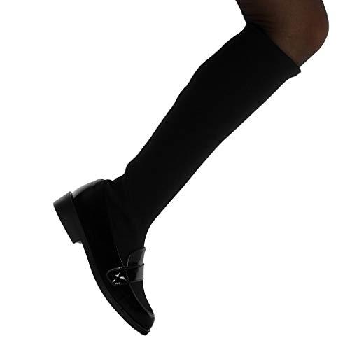 Talon Lanière Noir Souple on Cm Angkorly Slip Bi matière Mocassin Botte Verni Femme 3 Bloc Mode Chaussure wPFCqf