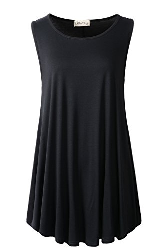 LARACE Women Solid Sleeveless Tunic for Leggings Swing Flare Tank Tops (2X, Black)