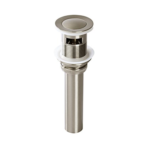 Fryotuc Bathroom Vessel Push Pop up Sink Drain with Overflow Brushed Nickel by Fryotuc