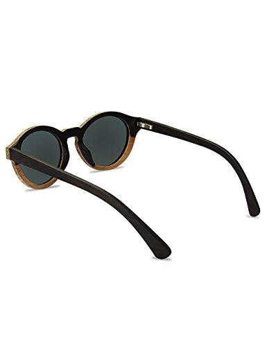 madera mujeres Gafas madera Hombres polarizadas caja de Bloqueo sol de Vintage Rosewood ovaladas de para Gafas UV sol Cat Gafas de de sol y hombres moda Sunglases Mujeres Con de naF8wWf