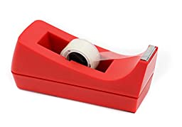 EasyPAG Desk Tape Dispenser Middle Size for Tapes within 1.0 Inch ,Add 1 Replace Blade Cutter ,Red