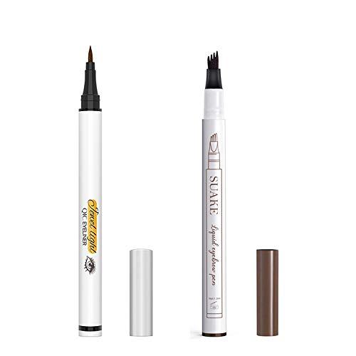 Liquid Eyeliner Pencil and Eyebrow Pen, Waterproof Long-Lasting Eye Liner, Super Slim Gel Eyeliner Makeup, Quick Drying Formula