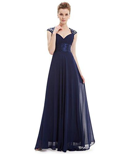 Ever Pretty Damen V-Ausschnitt Lange Chiffon Abendkleider Festkleider 6UK Marineblau
