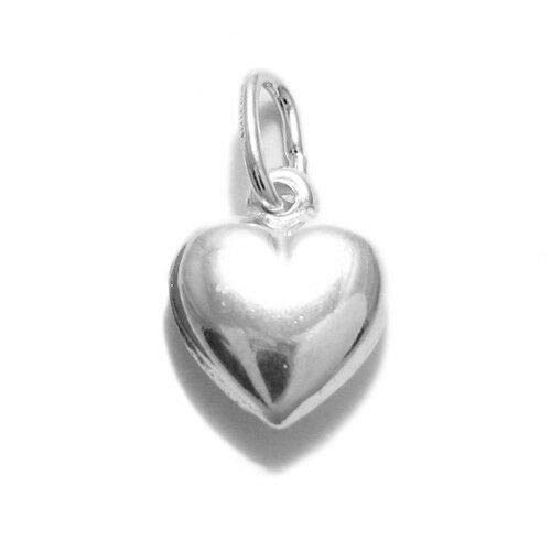 Small Sterling Silver Puffed Heart Miniature Charm.Jewelry Making Supply Charm, Bracelets and More by Wholesale Charms
