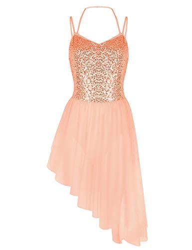 (iiniim Women's Sequined Camisole Leotard High Low Ballet Tutu Dress Dance Wear Costumes Orange Small)
